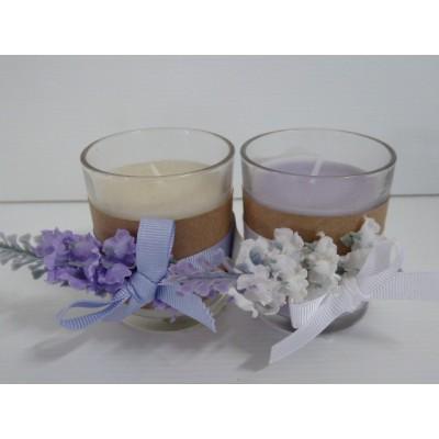 Vaso Cristal Con Vela Blanca/Lila Y Lazo Con Lavanda