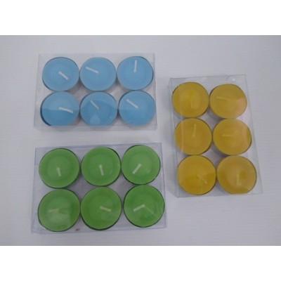 Bolsa Vela De Té Citronela Colores diam 6 * 2.2 cm X 6 Unid   8.5 Horas