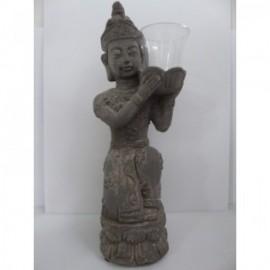 Buddha Rustic Glass 47 cm Gris