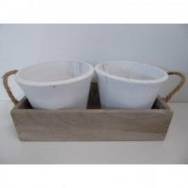 Caja Madera + Macetas Blancas 28*14*7 cm
