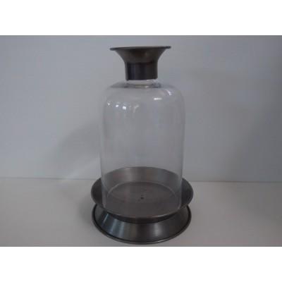 Farol Portavelas Botella De Acero 19*31 cm